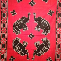 Batik Elephant Tapestry Red - Mellow Mood