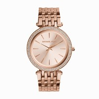 Michael Kors Darci Rose Gold-Tone Stainless Steel Ladies Crystal Watch
