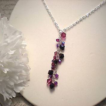 The Sarah- Fuchsia, Pink and Purple Swarovski Crystal Cluster and Sterling Silver Lariat Y Shaped Necklace