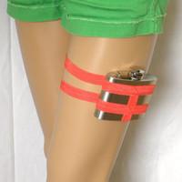Adjustable Flask Garter 4oz FLASK - Salmon Pink - Halloween Accessory - melon