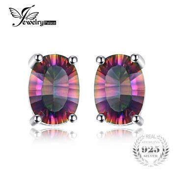JewelryPalace 3.6ct Natural Mystic Fire Rainbow Topaz Oval Earrings Stud For Women Solid 925 Sterling Silver Earrings For Women
