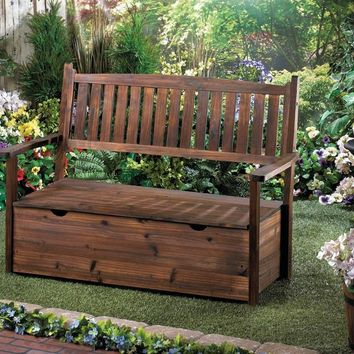 Beautiful Garden Grove Fir Wood Storage Bench