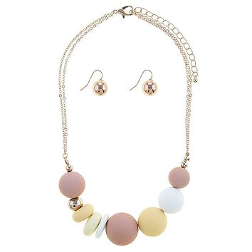 Sliding matte ball necklace set
