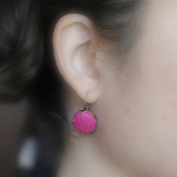 Felt Earrings, Pink Earrings, Felted Earrings, Eco-friendly Earrings, Winter Earrings, Winter Time Jewelry, Hot Pink Dangle Earrings, Bronze