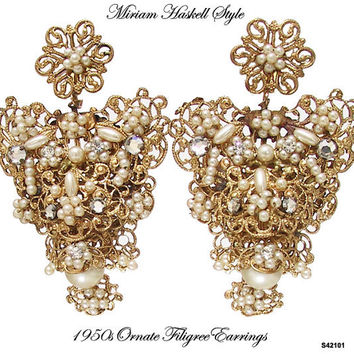 Miriam Haskell Style Gilt Pearl Earrings Vintage 1950s