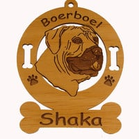 1810 Boerboel Head Ornament Personalized with Your Dog's Name