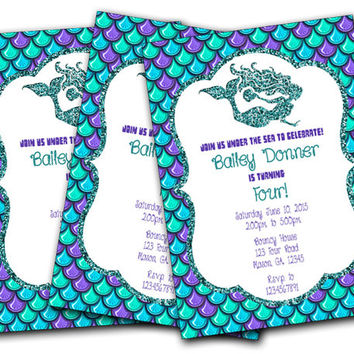Girls Mermaid Birthday Party Invitation - Nautical Birthday Girl Invite - Under The Sea Invitations - Ocean - Scales - Glitter - Purple