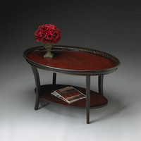 Butler Specialty Traditional Red and Black Oval Cocktail Table - 1591186