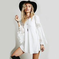 Chiffon Lace Bell Sleeve Dress