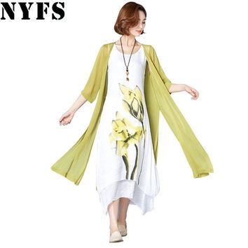NYFS 2018 New summer dress Sunscreen Two pieces Cotton Linen women long Dress Vestidos Robe Elbise