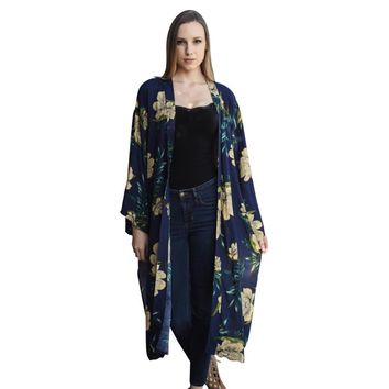 Beautiful Long Navy Blue Floral Kimono