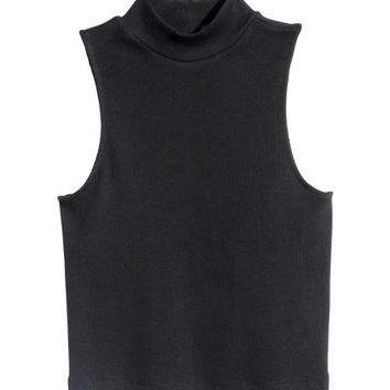 Short Mock Turtleneck Top - from H&M