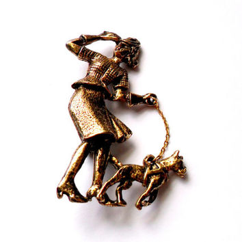 Vintage Woman Walking Dog Brooch - Lady Dog Walker - Gold Tone Brooch - Dog On Chain Leash - Brass Tone Figural Brooch