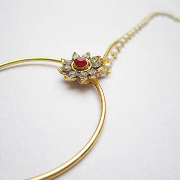 Indian Gold Antique Red  Stone Nose Ring Hoop With Chain For Non-Pierced Nose/Delicate Bridal Nose Ring/Septum Helix Hoop/Fake Nose Hoop