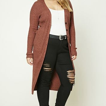 Plus Size Button-Down Cardigan
