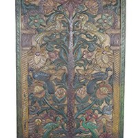 Vintage Barn Door Hand Carved Teak Wood KALPAVRIKSHA TREE OF Dreams Wall Art Relief Panel