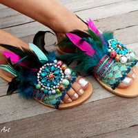 Leather sandals with sapphire, teal, hot pink feather, decorated festival shoes, Gladiator Sandal, boho sandals, bohemian sandals
