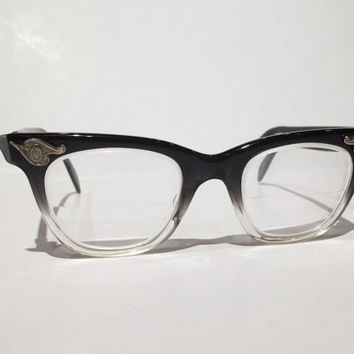 2e5185a6a0 Vintage American Optical Black Grey Crystal Fade Horn Rim Glasse