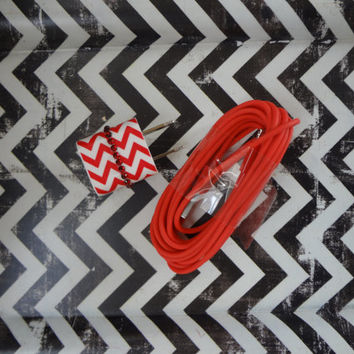 New Super Cute Jeweled Red & White Chevron Designed Wall iphone 5/5s Charger + 10ft Red Cable Cord Super Long