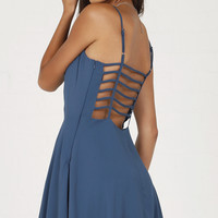 Open Back With Web Straps Mini Dress