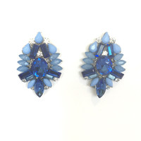 Bliss Crystal Earrings In Blue