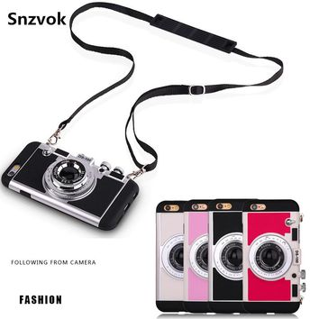 Fashion 3D style Vintage Camera Phone case for iPhone 7 8 plus 6 6s plus 5 5s hard PC + soft silicone 2 in 1 case with lanyard