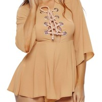 Casual Sexy Charming Lace-Up Hollow Out Plain Flared Romper
