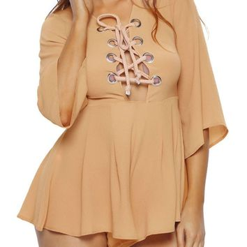 Streetstyle  Casual Sexy Charming Lace-Up Hollow Out Plain Flared Romper