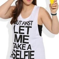 Plus Size Double Twist Back Tank Top with Let Me Take a #Selfie Screen