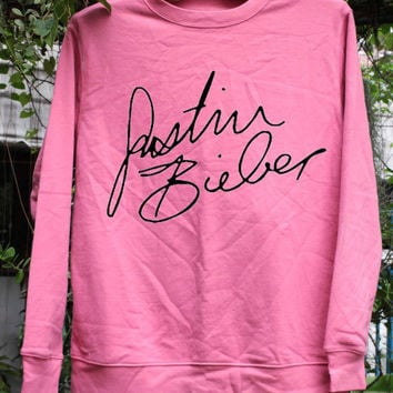 Justin Bieber Signature - Sweatshirt Pink Women/Unisex screen black