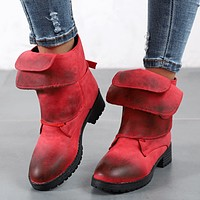 Chunky Low Heel Buckle Ankle Boots