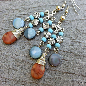 Pink Jasper and Blue Mother of Pearl Bohemian Chandelier Earrings with Celtic Beads and Blue Seed Beads - Blue Beaded Boho Dangle Earrings