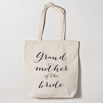 Grandmother of the Bride Calligraphy Tote Bag