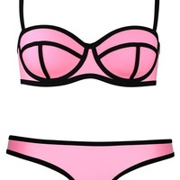 Imilan Luxury Push up Bright Diving Suit Neoprene Bikini Set Swimsuit Swimwear ((US Size 2-4) S, Pink)