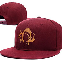 YUDUODUO Metal Gear Solid Fox Hound Logo Adjustable Snapback Embroidery Hats Caps - Red
