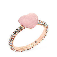 Michael Kors Rose Gold-Tone and Pave Crystal Carved Hearts Rose Quartz Ring