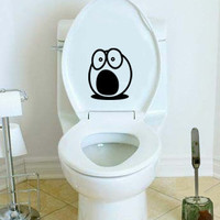 Shocked Funny Face Toilet Decal Wall Art Decor Bathroom Sticker Cool Fun Gift