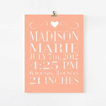 Personalized Birth Announcement for girls, Sweet & Simple Kids Wall Art, children decor