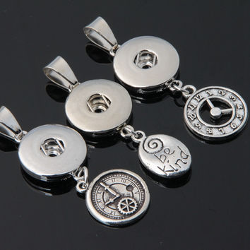 Hot Sale 18mm Ginger Anti Silver Metal Snap Button Clock Time Pendant Charms for Women Snap Necklace Jewelry 12pcs mix styles