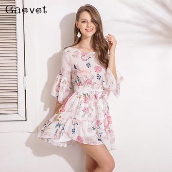 Gaovot Spring Women Dress Series 2018 Chiffon Floral Printed Sashes Tunic Bodycon Dress Femme 3/4 Flare Sleeve Vestidos KW173088