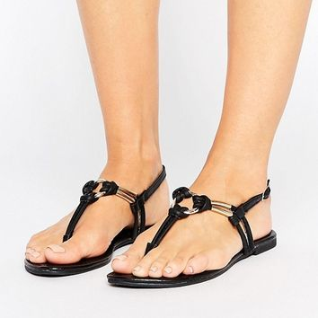 New Look Leather Look Knot Detail Sandal at asos.com