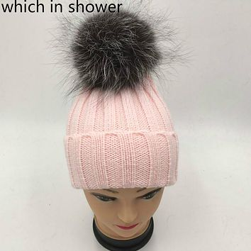 Which in shower real sliver fox fur pompom children winter hat knit bobble fur pom pom kids cap boy girl fur ball beanie bonnet