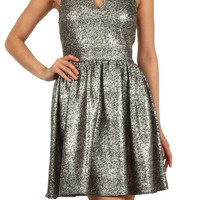 Rockin' Around the Tree Notch Neck Fit and Flare Metallic Dress - Gold/Black