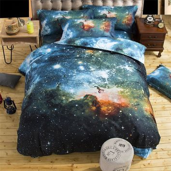 UNIKEA . . 2016 3D Bedding Sets Universe Outer Space Quilt Duvet Cover Bed Sheet Blue Galaxy New 4/3pcs Sell Pillowcase Twin Que