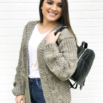 Triblend Cable Knit Cardigan - Olive