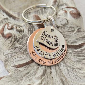You are my sunshine layered handstamped keychain Heart for Nana's Blessings with personalized name on the middle layer