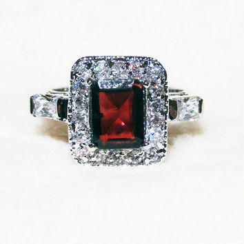 Vintage Ruby and Diamond Costume Ring Size 7