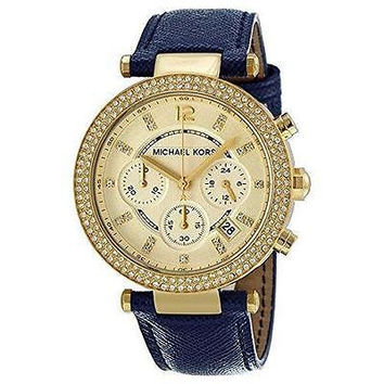 NEW Michael Kors Women's Parker MK2280 Blue Leather Quartz Watch
