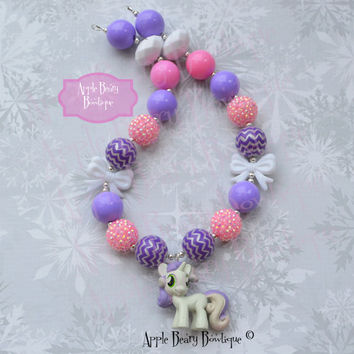 Sweeite Belle Chunky Necklace My Little Pony Chunky necklace Sweeite Belle  Bubblegum Necklace Pony Bubblegum Necklace Little Pony Necklace