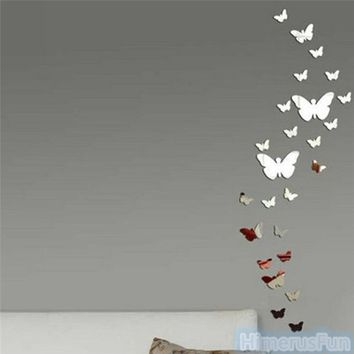 Butterfly DIY 3D Art Silver Acrylic Mirror Wall Sticker Home Decoration 25Pcs